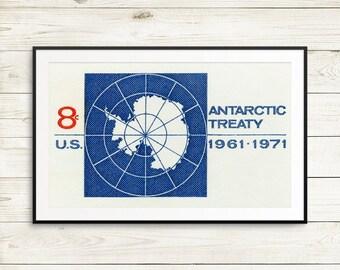 large antarctica wall art, antarctica map, antarctica treaty, antarctica posters, vintage usa postage stamps, postage stamp prints, gifts