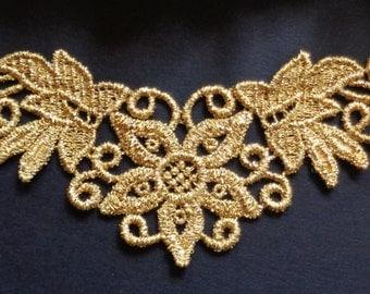 Venise Applique, 6 x 2+1/2 inch gold color
