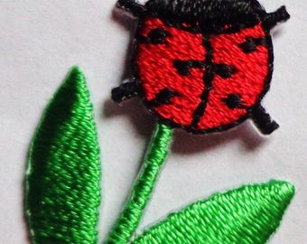 Embroidered Iron-On Applique Ladybug, 7/8 x 1+3/8 inch