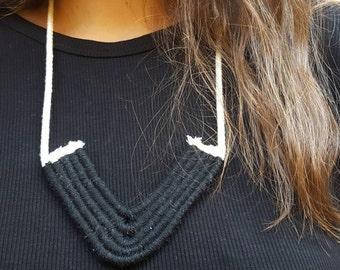 Black Textile Statement Necklace / Woven Cotton Necklace / Tribal Statement Necklace / Black Textile Necklace