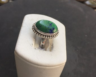 Silver and azurite ring