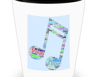 Musical Notes with Musical Terms in Cool colors and fonts styled on Cool Ceramic Shot Glass Makes a Perfect Gift for music lover!