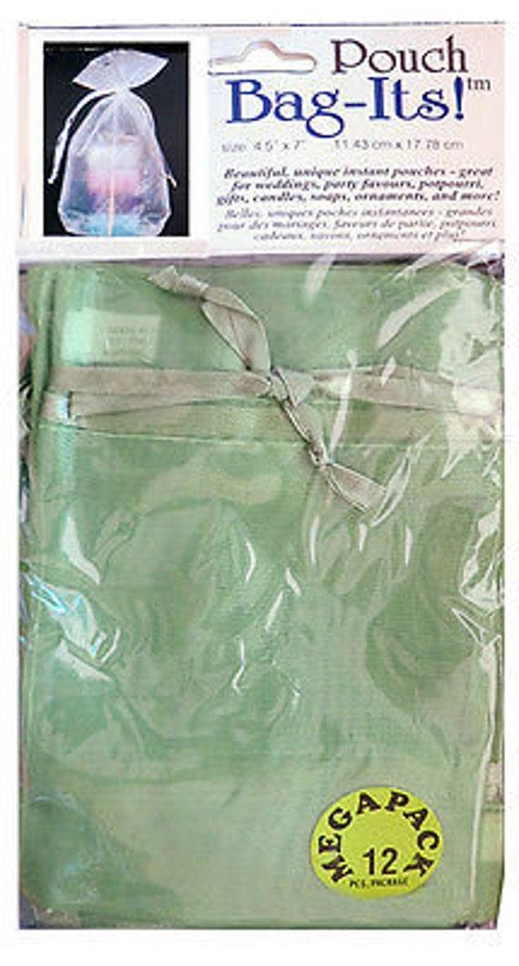 "Sheer Organza Bag-its, 72 pcs 4 1/2"" x 7"", Olive   **FREE U.S. SHIPPING**"