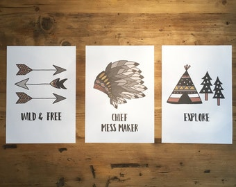 Native/Explorer Inspired Childrens A4 Prints