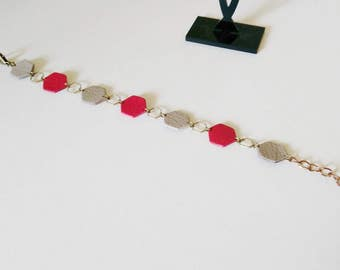 Bracelet HEXAGON BICOLOR leather and brass made by hand