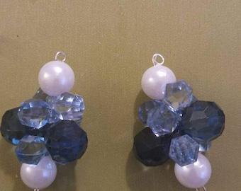 Blue cluster bracelet and earring set