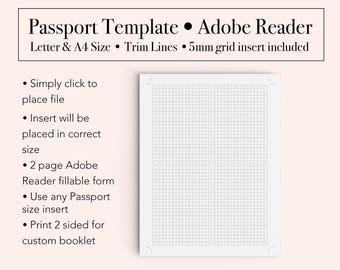 Passport Template, Booklet Template, Passport Printable Insert, Passport Booklet Template
