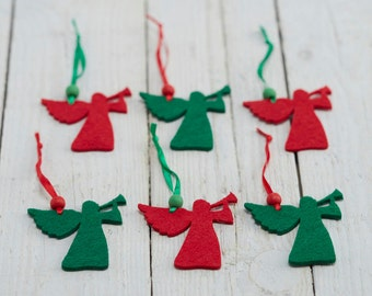 Angel Christmas Decorations - Set of Six Red & Green