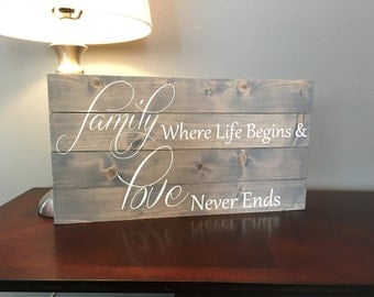 Family where life begins and love never ends sign