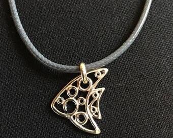 silver pendant necklace, layering, Fish  , modern jewelry,  cute , lover feline friend