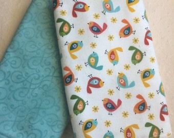 Burp cloths, Tiny birds, set of 2
