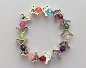 Dove beaded bracelet/ dove jewellery/ bird jewellery / animal jewellery / animal lover gift