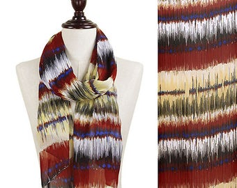 Multi Color Velocity Stripes Pattern Chiffon Scarf