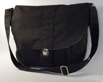 The Newport Black Messenger Bag, Canvas Shoulder Bag, Cross Body Bag, Canvas Handbag, Canvas Travel Bag, Canvas Diaper Bag, Messenger Bag