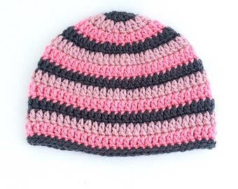 Gray Girls Hat, Striped Girls Hat, Pink Girls Hat, Gray Crochet Hat, Striped Hat, Hat with Stripes, Spring Crochet Hat, Toddler Girl Hat