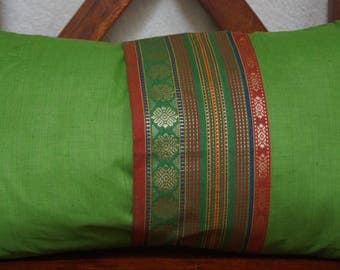 Rainbow sky 16 series: South India cover 30x50cm (12 x 20 inches) cushion, cotton lined with embroidered braid. Yellow-green color.