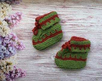 Pretty booties  green Baby Booties Crochet green brown baby booties shoes baby gift newborn warm baby boots Baby Girl Baby Boy