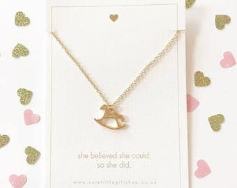Lovely Rocking Horse Necklace - Gold