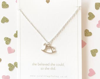 Lovely Rocking Horse Necklace - Silver