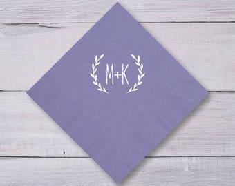 Monogrammed Napkins, Wedding Napkins, Dinner Napkins, Party Napkins, Wedding Dinner Napkins, Personalized Napkins, Laurel, Wedding