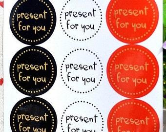 "36 PCS ""Present for you"" Kraft paper Sticker, Seals, Scrapbooking, Scrapbook Supplies, Stationary, Paper, Paper Stickers, Stickers"
