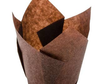 "2.25"" X 4"" Large Chocolate Brown Tulip Baking Cups, Baking Cups, Cupcakes, Cupcake Wrappers, Cake Wrapper, Cupcake Supplies, Baking Supplies"