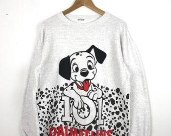 Vintage 90s 101 DALMATIANS Fullprint Allover Print Dog Walt Disney Long Sweatshirt Size Medium