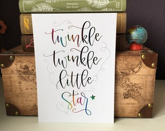 Hand lettered A5 foiled print | Twinkle twinkle little star || Children's nursery | frameable print