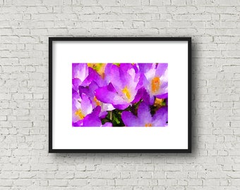 Purple Crocus Watercolor ~ Bright Purple Crocus ~ Instant Download ~ Spring Crocus ~ Spring Flowers ~ Nursery Print