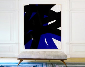 Black And White Blue oil Painting Minimalist Art, Large Canvas Art. Abstract Painting, Modern Art. Hand Painted - MODERNISMARTSTUDIO