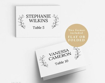 UK Australia Wedding, Place Card Template,Wedding Place Cards Printable,Flat or Folded Tent Place Cards Wedding,Editable Place cards #A4_017
