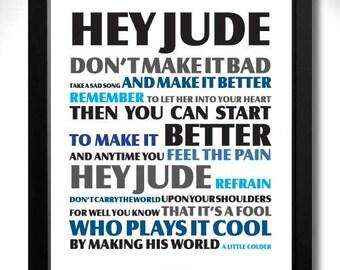 THE BEATLES - Hey Jude Limited Edition Unframed A4 Art Print with John Lennon & Paul McCartney lyrics