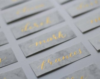 Hand Written Calligraphy Name Place Cards on Marble Card