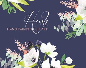 Watercolor Flower Clipart - Hush - Hand Painted Floral Graphic Elements
