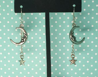Shooting Stars and Moon Earrings