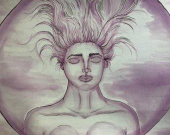 "Hand Painted ""Lady Vino,"" Goddess, Art & Collectibles, Art, Wine, Vino, Wall Art, Prints"