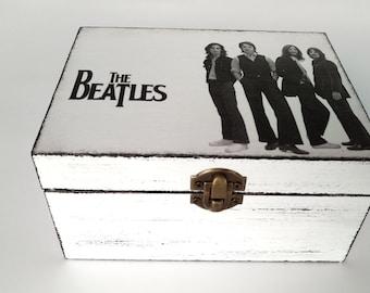 The Beatles Beatles box Beatles lover Box Decoupage Box Shabby Chic Box jewelry wooden box Storage Box Vintage Box Shabby Chic furniture