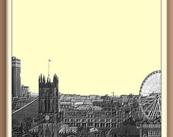 Manchester England  Skyline Poster