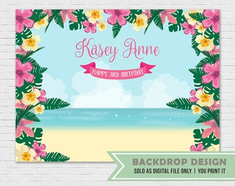 Hawaiian Luau Party Backdrop // Tropical Party Banner Backdrop // Aloha Backdrop