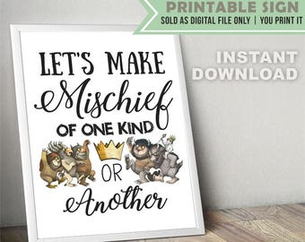 Where The Wild Things Are Party Sign // Digital File Only // INSTANT DOWNLOAD