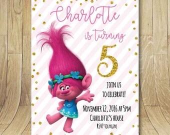 Trolls birthday party invitation, printable personalized invite