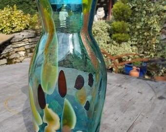 Murano Multi Coloured  Art Glass Vase Signed