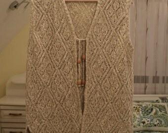 Vintage 80 Light - Beige Weaving Machinery. Women Sweater Vest Size XXL