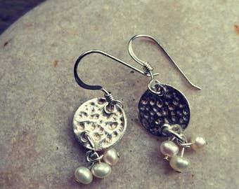 Hail Storm Earrings, pearl earrings, hammered silver earrings, bridal earrings, wedding earrings