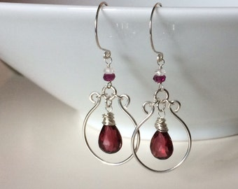Garnet briolette wire wrapped sterling silver dangle earrings