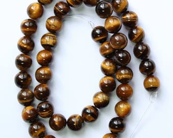 8mm Tiger Eye Beads Brown and Gold Rounds 15 inch Strand 48 Beads 1mm Hole Size Stone Gemstone