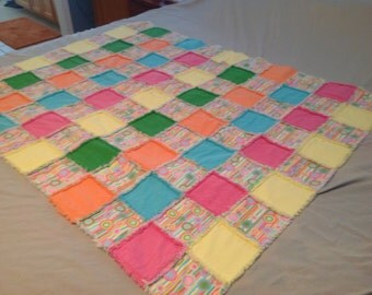 Pretty colorful rag quilt.  Two layers of flannel.  Same colors on back and front.  Very lightweight, and warm.  43x56.