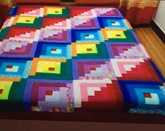 Beautiful 90x90 queen size log cabin quilt, in pretty vibrant colors
