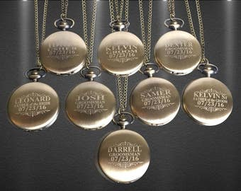 8 Personalized Pocket Watches - 8 Groomsman engraved gifts - Couples gifts - Wedding set - Best Man - Man of Honor gift - Personalized gifts