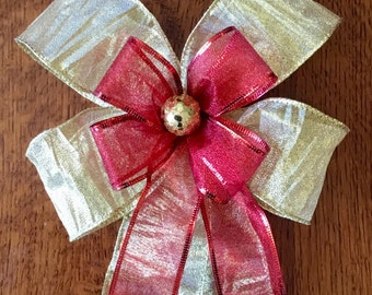 Christmas Gift Bow, HolidayBow, Handmade, Wreath Bow, High Quality
